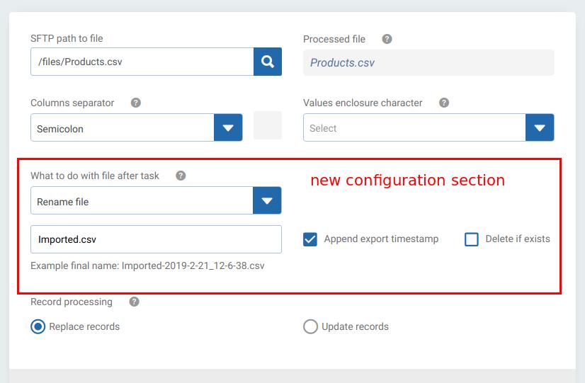 SFTP source integrations data export import